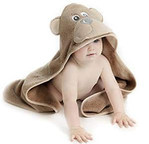 Little Tinkers World Bear Hooded Baby Towel, Natural Cotton, Large 30x30-Inch size