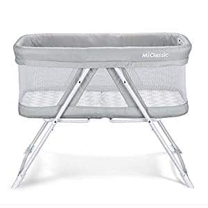 Miclassic 2 in 1 Rocking Bassinet One-Second Fold Travel Crib Portable Newborn Baby