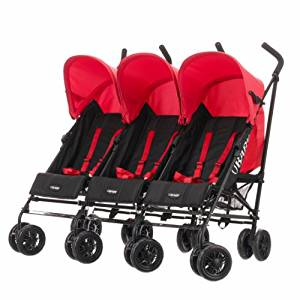 Obaby Mercury Triple Stroller – Black/Red