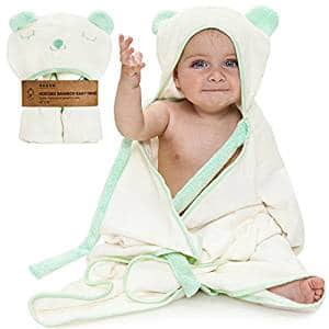 Premium Extra Soft Hooded Bamboo Baby Bath Towel and Washcloth