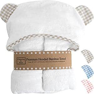 Premium Hooded Baby Towels and Washcloth Set – Organic Bamboo Baby Towel with Hood – 2x Thick