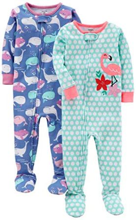 Carter's Baby Girls' 2-Pack Cotton Footed Pajamas