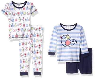 Gerber Baby Girls' 4-Piece Pajama Set