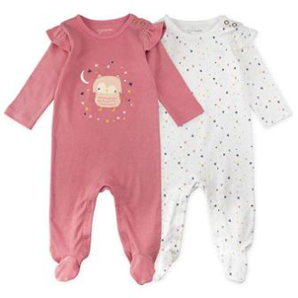 Mac & Moon Baby Girl Sleeper Set, 2-Pack Long Sleeve Footed Sleep & Play Pajamas