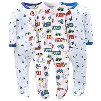 Marque Baby Boys Footed Pajama – 100% Cotton Zip Front Sleep and Play Sleeper
