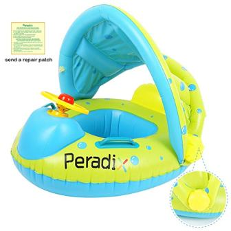 Peradix Baby Float Water Toys with Inflatable Canopy Sunshade