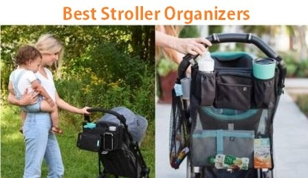 Baby Stroller Organizer Universal Stroller Caddy for Moms Stroller Accessories Bag for Bottles Diapers Stroller Storage Bag with 2 Insulated Cup Holders Toys and Snacks Adjustable Shoulder Strap